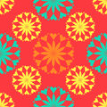 Seamless pattern, unusual flowers on a red background