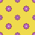 Seamless pattern, unusual flowers on a yellow background
