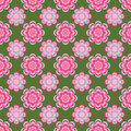Seamless pattern, unusual pink flowers on a green background