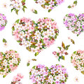 Seamless pattern for Valentine day - floral hearts with white and pink flower. Cherry blossom . Watercolor