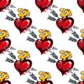 Seamless pattern of valentine hearts and arrows background red arrow fire Stock Photography