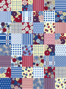 Seamless pattern variegated patchwork with flowers and dots Royalty Free Stock Images