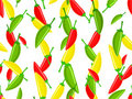 Seamless pattern with variety of hot chili peppers Stock Photo