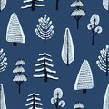 Seamless pattern with various hand drawn winter trees covered by snow on blue background. Backdrop with cartoon snowy