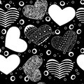 Seamless pattern of various hearts black on white art Royalty Free Stock Photography
