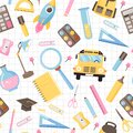 Seamless pattern with various school supplies. Royalty Free Stock Photo
