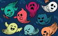 Seamless pattern with various spooky ghosts