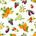 Seamless pattern with various vegetables and fruits. Vector illustration.