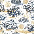 Seamless pattern vector with corals