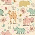 Seamless pattern vector hand draw with animals Royalty Free Stock Photography