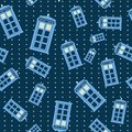Seamless pattern vector illustration of british police box illuminating Royalty Free Stock Photo