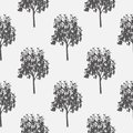 Seamless pattern, vector repeating illustration, decorative ornamental stylized endless trees. Abstract background