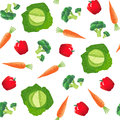 Seamless pattern with vegetables. Carrot, cabbage, pepper and broccoli.