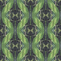 Seamless pattern with vegetal motives seamlessly repeating ornamental wallpaper or textile hand painted in green beige and gray Stock Image