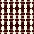 Seamless pattern with vertical braid ornament. Outline polygons tile surface background. Symmetric geometric motif.