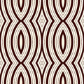 Seamless pattern with vertical braid ornament. Outline stripes surface background. Symmetric geometric motif.