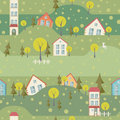 Seamless pattern with village and houses of summer city vector cityscape Royalty Free Stock Image