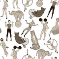 Seamless pattern vintage circus performers and animals theme Royalty Free Stock Images