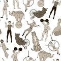 Seamless Pattern, Vintage Circ...