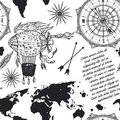 Seamless pattern with vintage compass, world map, airship and wind rose. Royalty Free Stock Photo