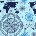 Seamless pattern with vintage compass, world map and wind rose. Royalty Free Stock Photo