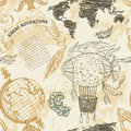 Seamless pattern with vintage globe, abstract world map, airship, rope knots, ribbon. Royalty Free Stock Photo