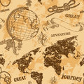 Seamless pattern with vintage globe, abstract world map, rope knots, ribbon. Retro hand drawn vector illustration Great adventure