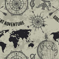 Seamless pattern with vintage globe, compass, world map and wind rose. Royalty Free Stock Photo