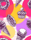 Seamless pattern with vintage hand drawned ice cream cones and muffins, donuts on multicolor background.