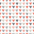 Seamless pattern with vintage hatchet hearts cute vector tiling Stock Photography
