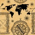 Seamless pattern with vintage hourglass, compass, world map and wind rose.