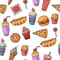 Seamless pattern. Vintage illustration with fast food doodle elements on background for concept design, menu. illustration for any