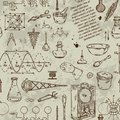 Seamless pattern with vintage science objects. Scientific equipment for physics and chemistry. Royalty Free Stock Photo