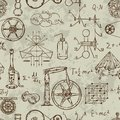 Seamless pattern with vintage science objects. Scientific equipment for physics and chemistry.