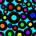 Seamless pattern of vinyl discs acid colored Stock Photography