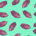 Seamless pattern with violet basil leaf on atTeal background.