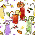 Seamless pattern of vivid cocktails hand drawn on a white background Stock Photography