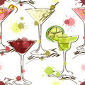 Seamless pattern of vivid cocktails hand drawn on a white background Stock Images