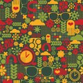Seamless pattern with watch vector retro background Royalty Free Stock Photo