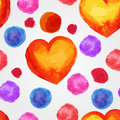 Seamless pattern with water background watercolor hearts and splashes Royalty Free Stock Photos