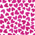Seamless pattern with water color hearts