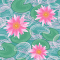 Seamless pattern with water lilies Stock Images