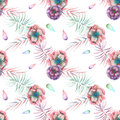 Seamless pattern with the watercolor anemone flowers and branches