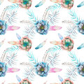 Seamless pattern with the watercolor anemone flowers, feathers and blue branches