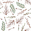 Seamless Pattern of Watercolor Arrows, Green Leaves And Branches