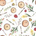Seamless Pattern of Watercolor Arrows And Ladybug
