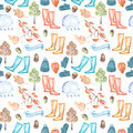 Seamless pattern with watercolor autumn objects warm hat and mittens, rubber boots, rain cloud, dry tree leaves and other