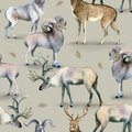 Seamless pattern, Watercolor background of stag, deer and mutton on gray