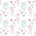 Seamless pattern with watercolor ballet dancers with butterfly wings and flowers Royalty Free Stock Photo