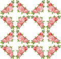 Seamless pattern watercolor bouquet of three roses on a white rhombus background